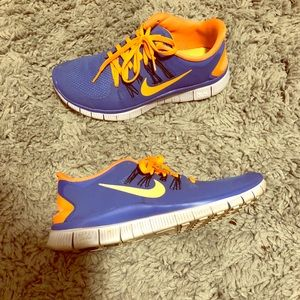 Purple blue and orange Nike Free Runs!